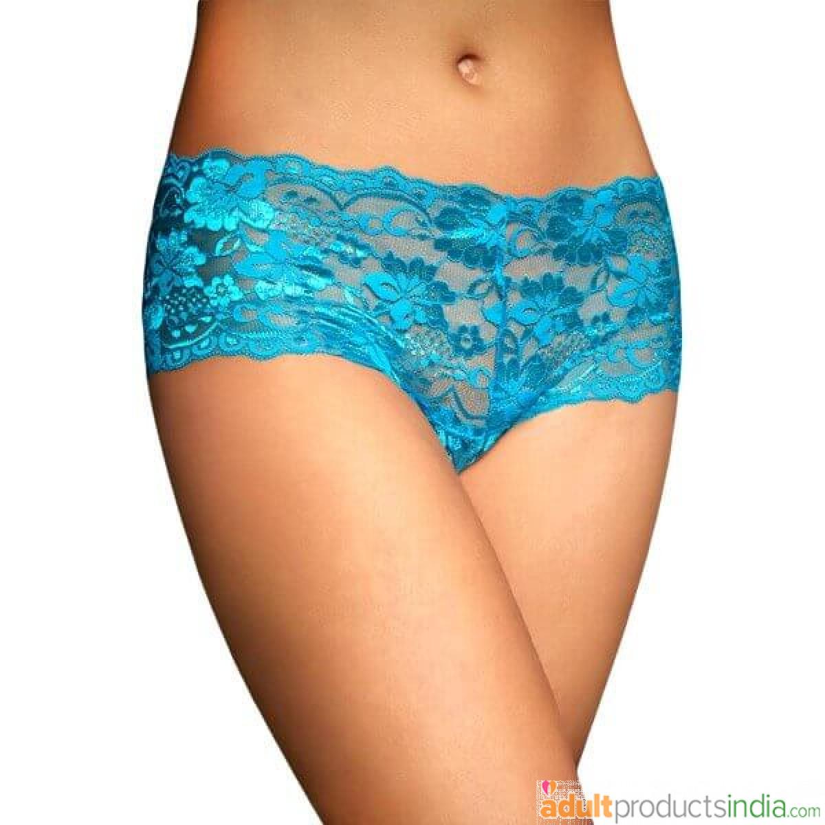 Women Lace Boy Shorts Panty Blue