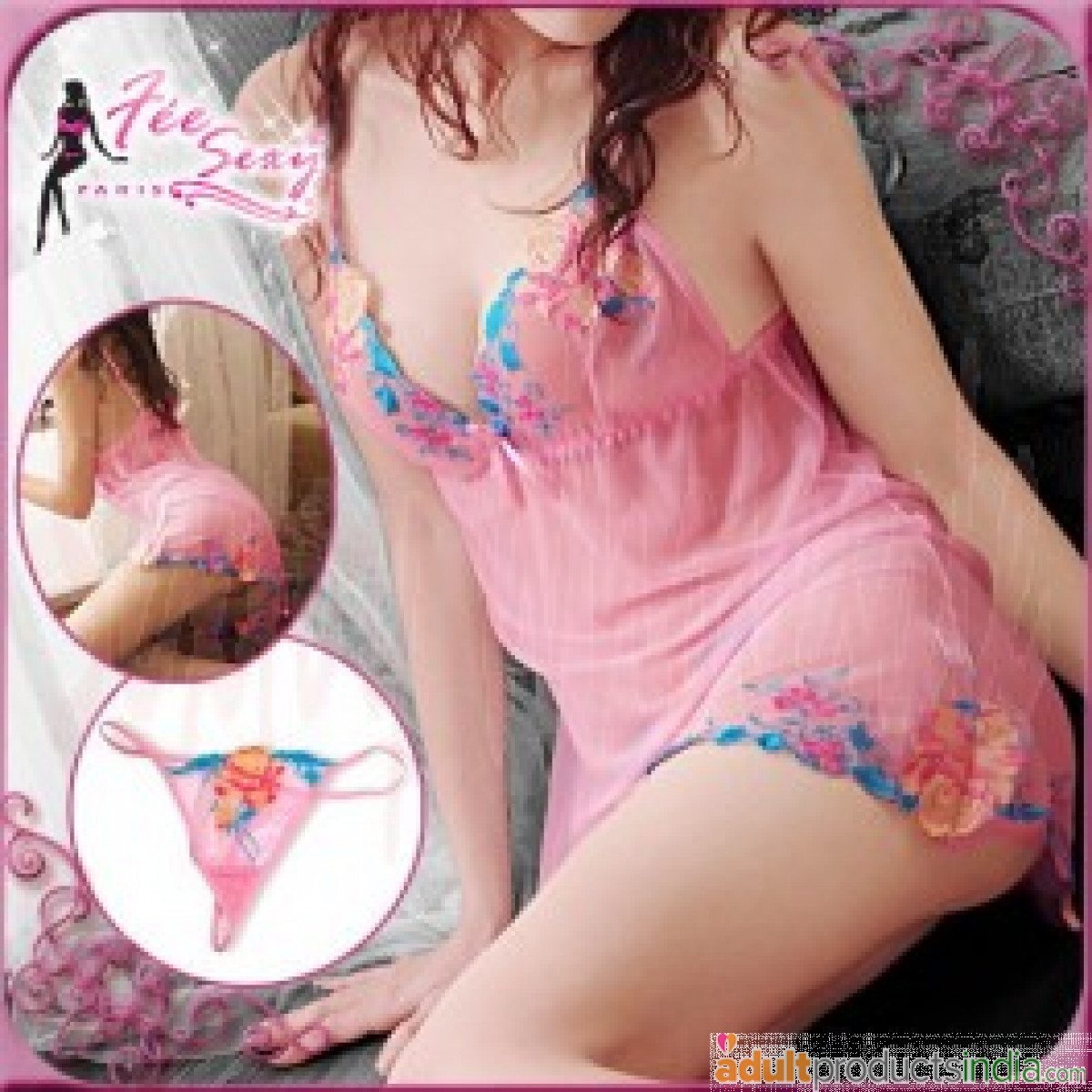 Pink Floral Mesh Baby Dolls