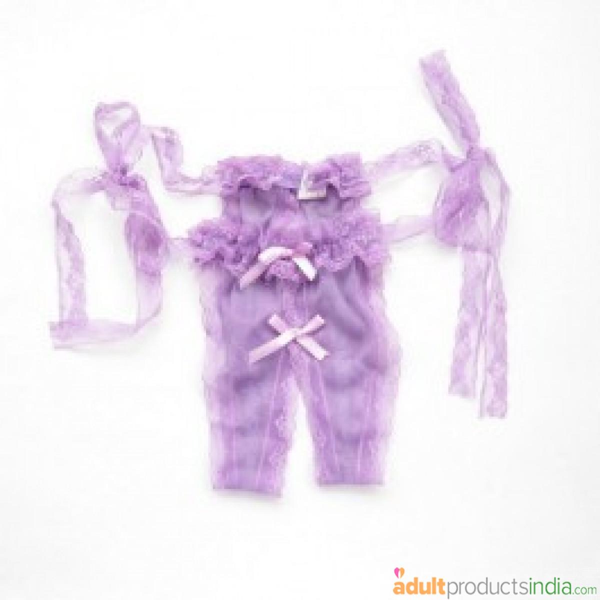 Purple Lace Open G-String