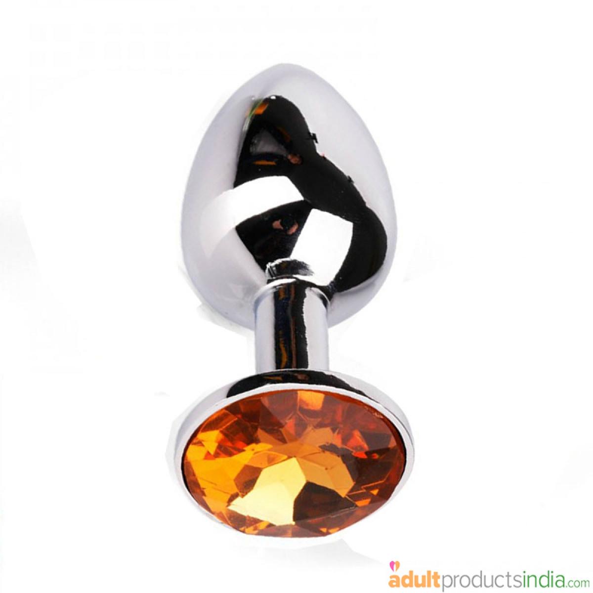 Metal Buttplug Orange Diamond