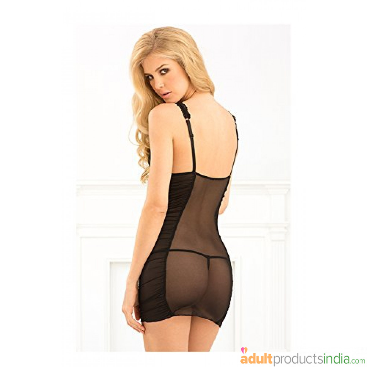 Rene Rofe Women's 2 Piece Ruched Mesh Chemise and G-String