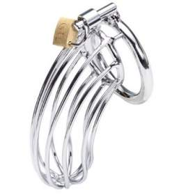 "Steel Penis Bondage Bird Cage Chastity Device with Lock(2"" inner diameter ring)"
